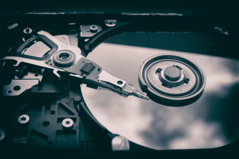 Die Magnetscheibe eine HDD ist zu sehen.