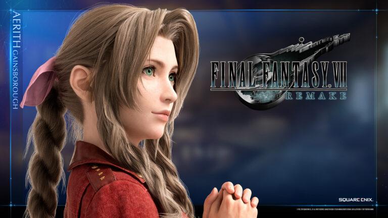 Aerith, einer der Charaktere aus dem Final Fantasy VII Remake, steht vor einem blauen Hintergrund