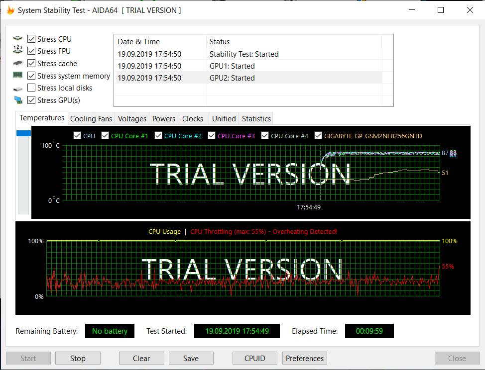 Beispiel Clevo N957TC mit unveränderter i5-9400 CPU